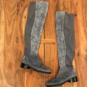 New Tory Burch Caitlin Grey Suede OTK Boots 6.5